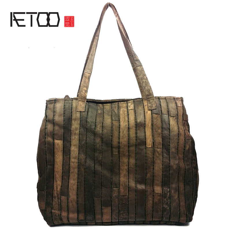 AETOO Autumn and winter new European and American fashion ladies shoulder bag leather stitching fashion leather handbags 2017 autumn european and american fashion women s handbags high end atmosphere banquet tote bag dhl speedy shipping
