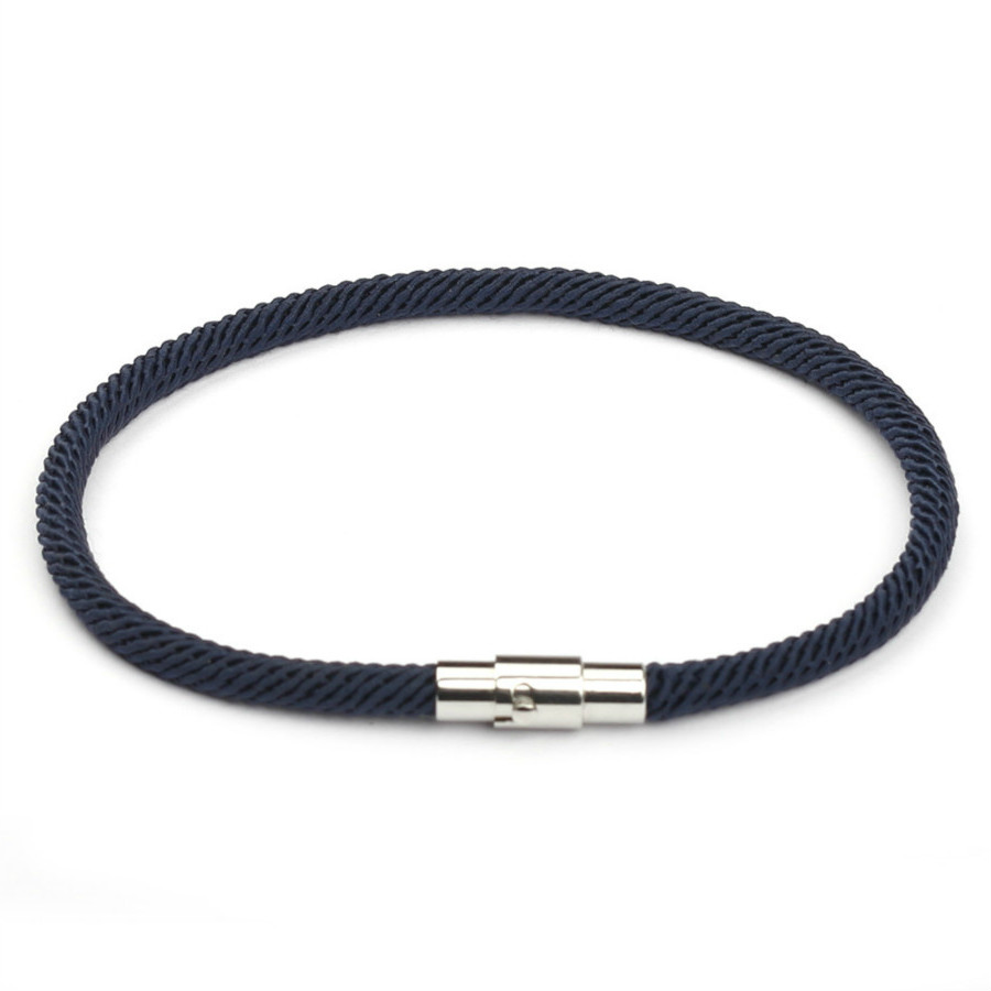 2020 New Classic Style Men Leather Charm Bracelets Simple Black Stainless Steel Button Lovers Accessories Hand-woven Jewelry