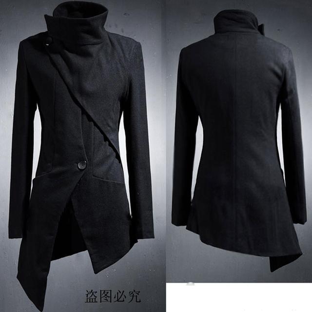 Diseño único Estilista de Moda Diseño Largo Chaqueta Masculina Personalidad Asimétrica Trench Negro y prendas de Vestir Exteriores
