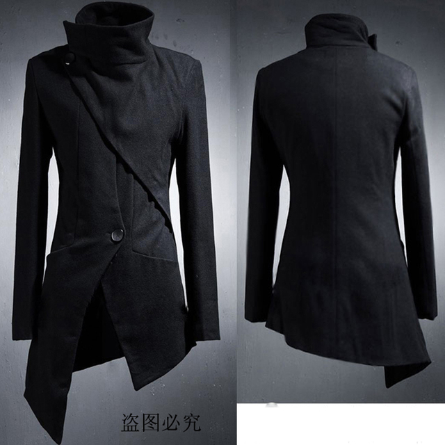 Unique Design Stylist Fashion Long Design Jacket  Personality Male Asymmetric Black Trench and Outerwear