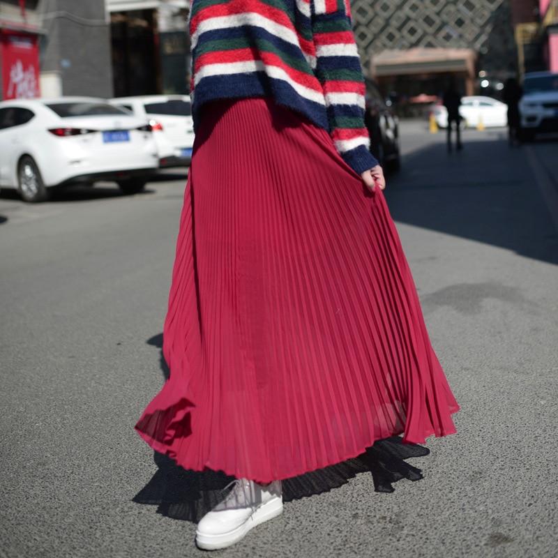 Vientisa spalva sifono ilgos sijonas elegantiškas pavasario vasaros - Moteriški drabužiai - Nuotrauka 4
