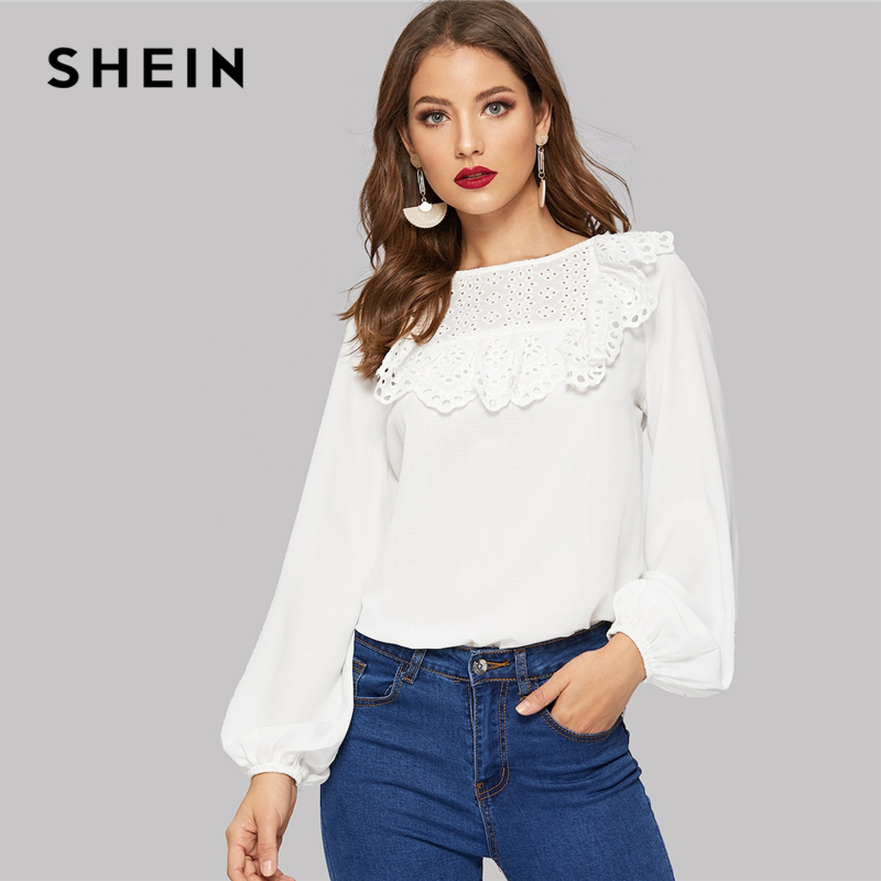 SHEIN White Bishop Sleeve Eyelet Embroidered Ruffle Yoke Button Plain Top Blouse Women Summer Office Lady Tops And Blouses