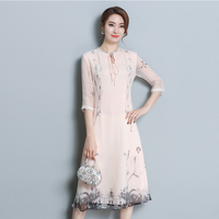 New Spring Women dress Silk Over the knee Long Literary Style Dresses Shallow Apricot L0838