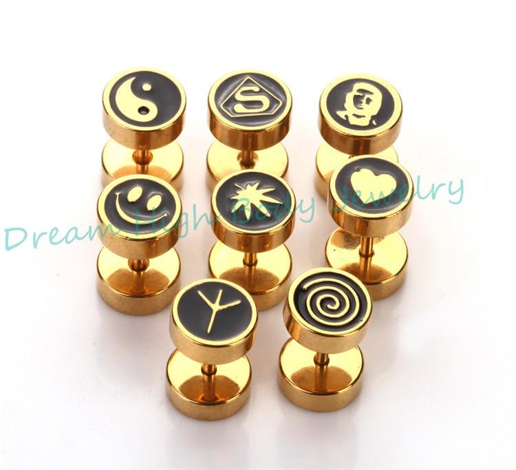 HENGKE Jewelry Gold Colour Barbell Earring Oil Design Ear Stud ...