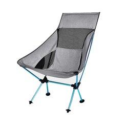 Portátil cinza lua cadeira de pesca cadeiras de acampamento dobrável estendido caminhadas assento luz ao ar livre cadeira móveis para casa