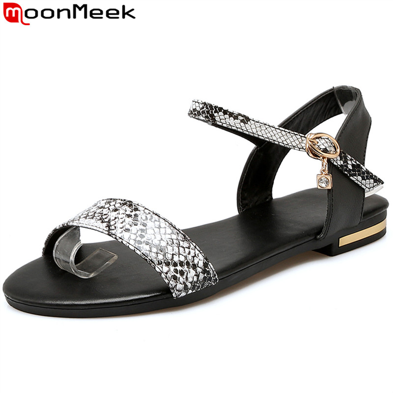 MoonMeek 2017 high quality summer women sandals flat with buckle fashion ladies shoes black and white color size 34-43 high quality fashion women sandals flat shoes summer pee toe sandals indoor&outdoor leisure shoes dropshipping ma31