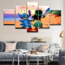 Top-Rated Canvas Print Wall Art Posters Frame HD Printed 5 Pieces Movie Lilo & Stitch Paintings Home Decor Children Room Picture top posters холст весь лондон iii top posters 50х100х2см l 1013h
