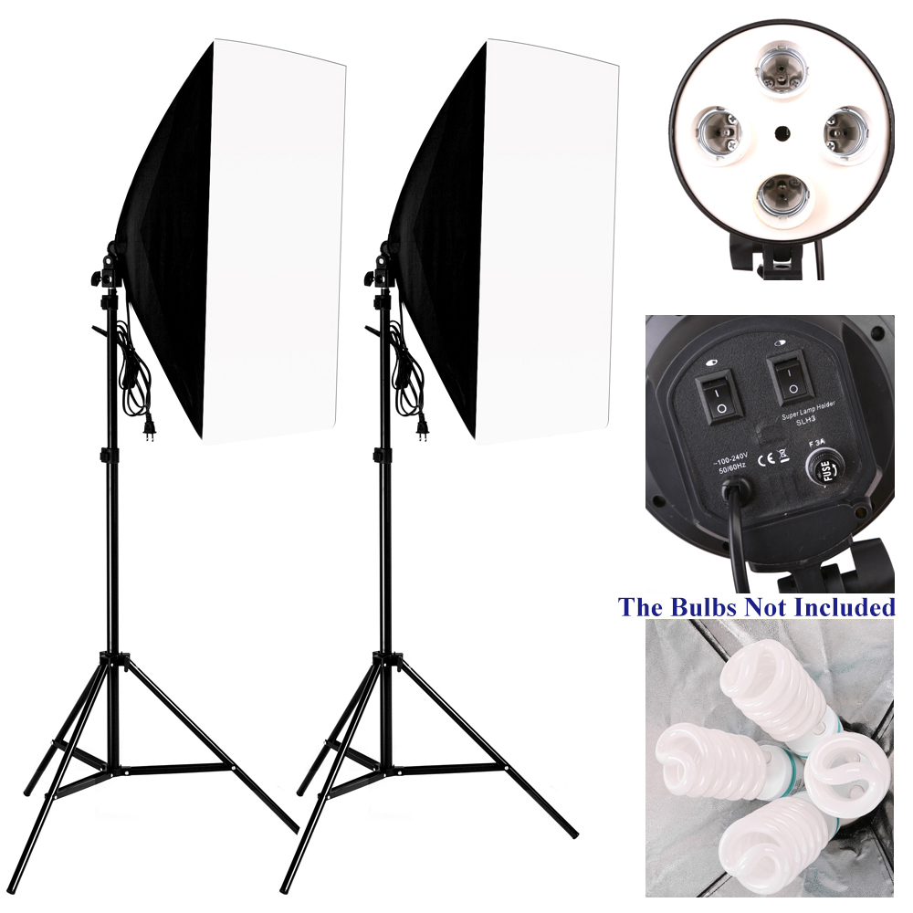 Photo Studio Kit Photography Lighting 2PCS*4 Socket Lamp Holder +2PCS* 50*70CM Softbox +2PCS*Light Stand Photo Soft Box(China)