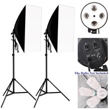 Комплект для фотостудии, светильник ing для фотосъемки, 2 шт.* 4 патрона для лампы+ 2 шт.* 50*70 см софтбокс+ 2 шт.* Светильник для фотосъемки