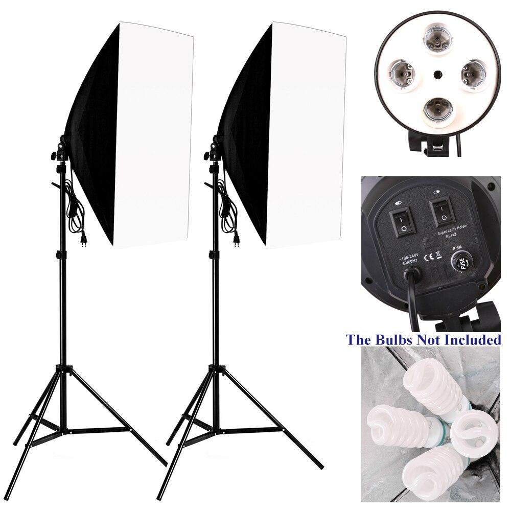 Kit de estudio fotográfico iluminación unids 2 piezas * 4 portalámparas de enchufe + unids 2 piezas * 50*70 cm Softbox + unids 2 piezas * m 2 M soporte de luz foto caja suave