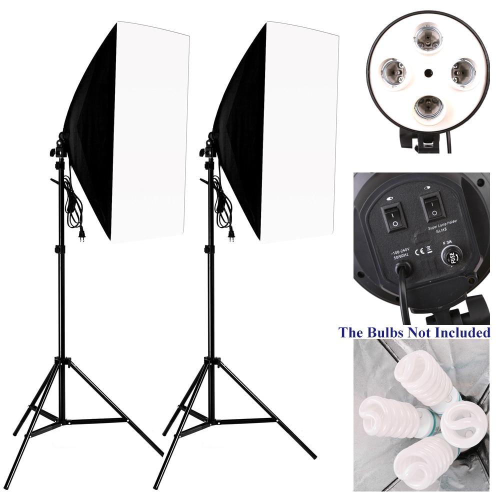 Photo Studio Kit Photography Lighting 2PCS*4 Socket Lamp Holder +2PCS* 50*70CM Softbox +2PCS*2m Light Stand Photo Soft Box Photo Studio Kit Photography Lighting 2PCS*4 Socket Lamp Holder +2PCS* 50*70CM Softbox +2PCS*2m Light Stand Photo Soft Box