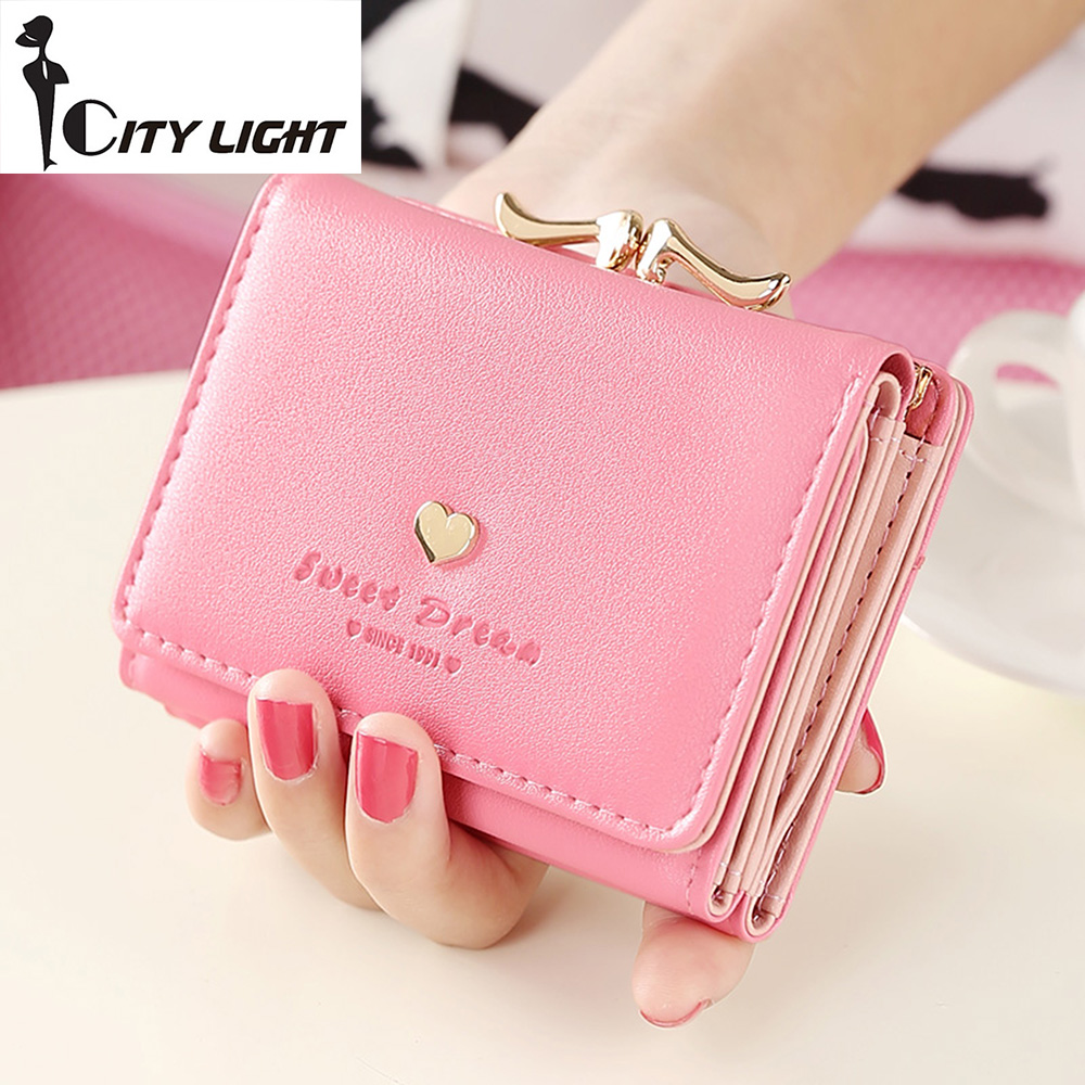 2016 new fashion women wallets rivet love short design three fold small wallet lady wallet coin purse fashion women wallets multi function high quality small wallets rivet love short design three fold wallet coin purse for women
