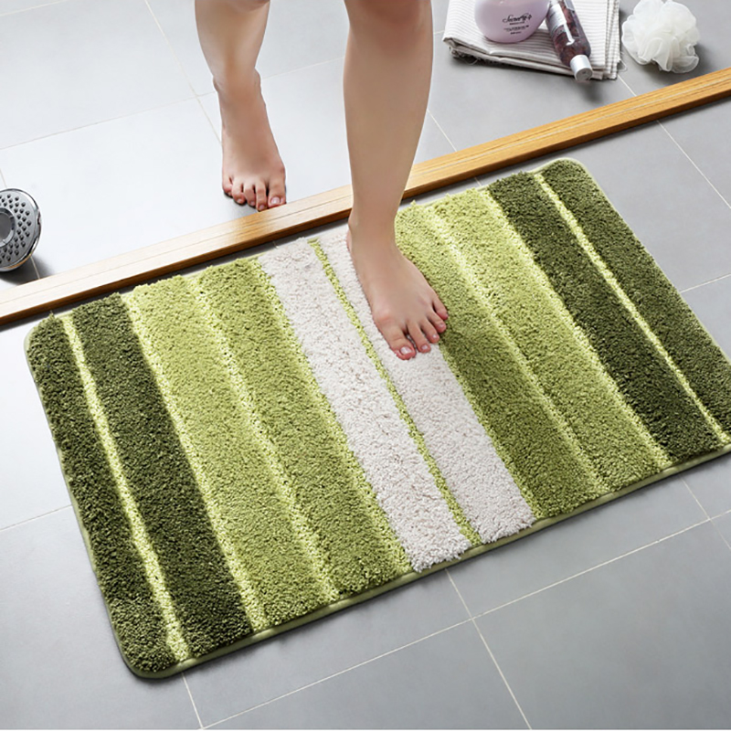 Bath Mat For Bathroom Toilet Bathtub Mat For Shower Enclosure Wash-stands Striped Rug Soft Absorbent Non-slip 2 sizes ...