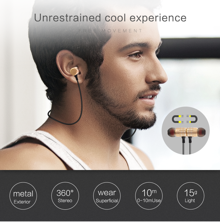 Bluetooth 4.2 Headphones Wireless Headset Microphone Sport Mini Earphone Neckband Ecouteur for iPhone Android Phone Call Answer