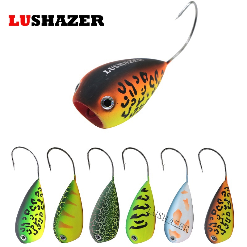 LUSHAZER fishing lure hard bait ice fishing baits 11.5g 82mm isca artificial crankbait poper leurre popper lures topwater anmuka frog fishing lures kit snakehead lure topwater floating frog baits with box pesca isca artificial