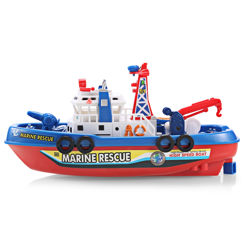 Outdoor Toys Music Light Electric Marine Rescue Fire Fighting Boat Toy Waterproof Mini Speed Boat Airship as gift for children (6)