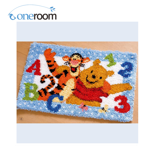 ZD38 Happy Tiger And Bear Hook Rug Kit DIY Unfinished