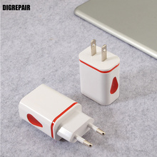 Dual USB Ports US EU Plug USB Charger Drops of Water Led Light Mobile phone Fast