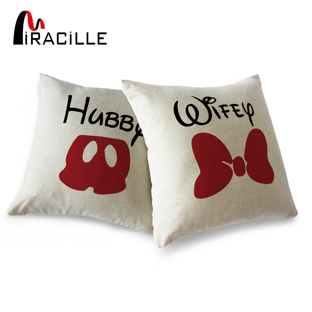 """Miracille Square 18"""" Linen Blend Hubby and Wifey Home"""