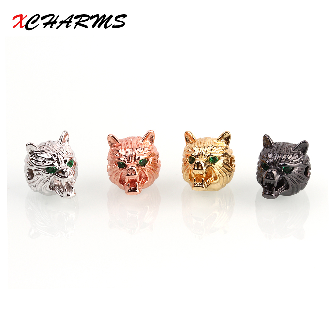 XCHARMS 15*11mm Black CZ Wolf head Spacer Beads Diy Copper Beads for Bracelets Jewlery Making Materials Findings Wholesale