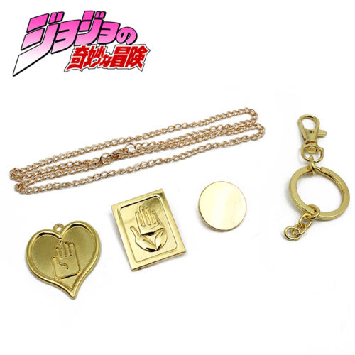 OHCOMICS Hot Anime JoJo's Bizarre Adventure Golden Metal Necklace+Keychain+Pin Cosplay Costume Accessories Pendants Decor Gift
