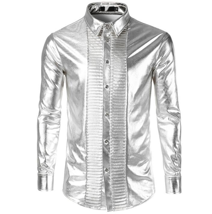 fashion punk shirt men long sleeve shirt teenage Metallic bright surface bronzing shirt mens personality stage singer dance in Casual Shirts from Men 39 s Clothing