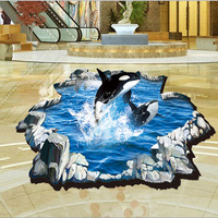 3D Dolphin Floor Wall Stickers PVC Wall Decal Submarine Wallpapers Poster Home Decoration For Bathroom Livingroom