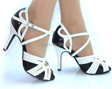 New Ladies white and black leather Ballroom Latin Samba Salsa Ceroc Tango Dance Shoes Size 34,35,36,37,38,39,40,41