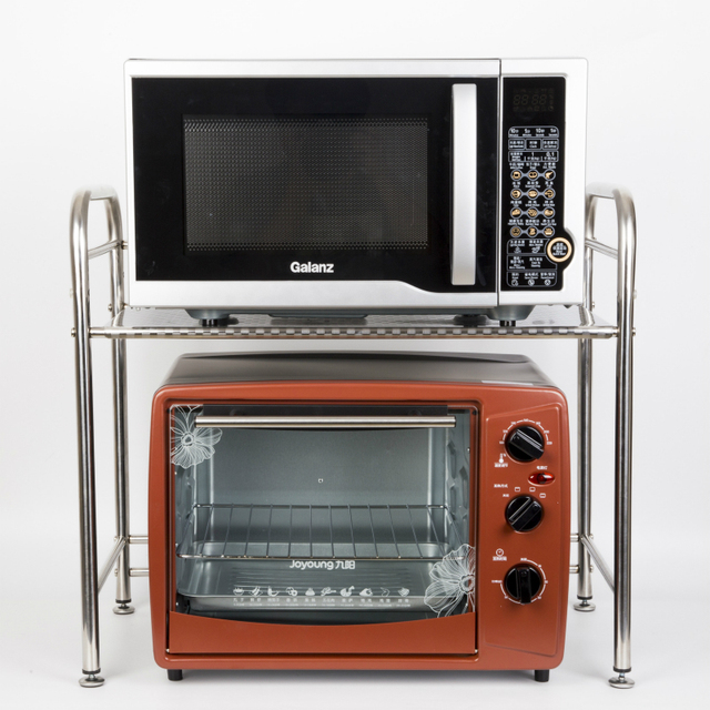 Free Shipping Kitchen Supplies Shelf 2 Layer Stainless Steel Microwave Storage Rack Oven 50cm