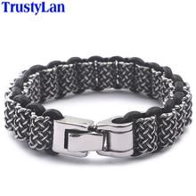 "Trustylan retro hiphop rock sólido pesado 316l aço inoxidável pulseiras de couro de corrente grossa para homens gótico 8.7"""