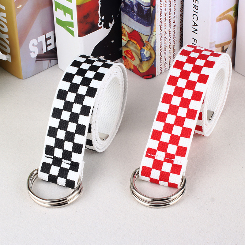 Ladies Harajuku Checkerboard Punk Strap Nylon Canvas   Belt   Long Female Double D Ring Black White Plaid Jeans   Belts   For Women 344