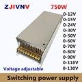 750 Вт импульсный источник питания регулируемый выходной voltage0-12V 15 в 24 в 36 в 48 в 50 в 60 в 72 в 80 в 110 В 130 в AC-DC SMPS 15 в 50A