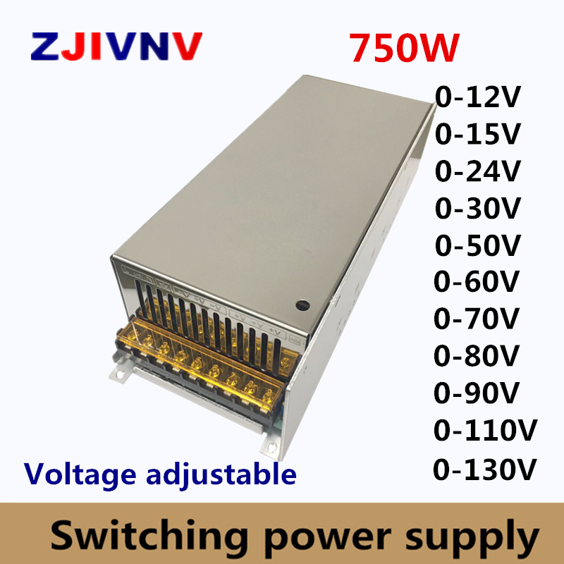 750w Switching Power Supply adjustable output voltage0 12V 15V 24V 36V 48V 50V 60V 72V 80V 110V 130V AC DC SMPS 15V 50A
