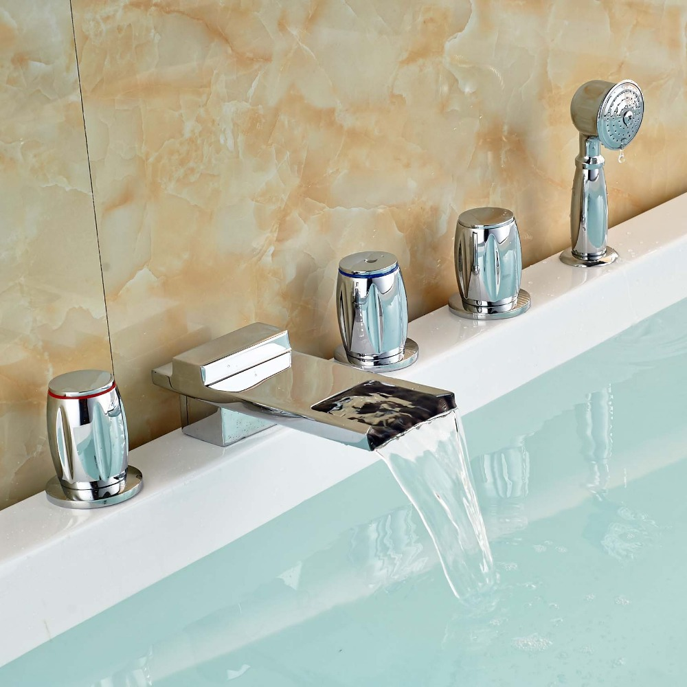 Brass Chrome Waterfall Widespread Bathtub Faucet Mixer Tap with Handheld Shower Deck Mount 5PCS brass chrome waterfall widespread bathtub faucet mixer tap with handheld shower deck mount 5pcs