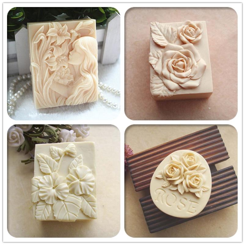 patrón de flores jabón hecho a mano moldes rosa flor jabón molulds