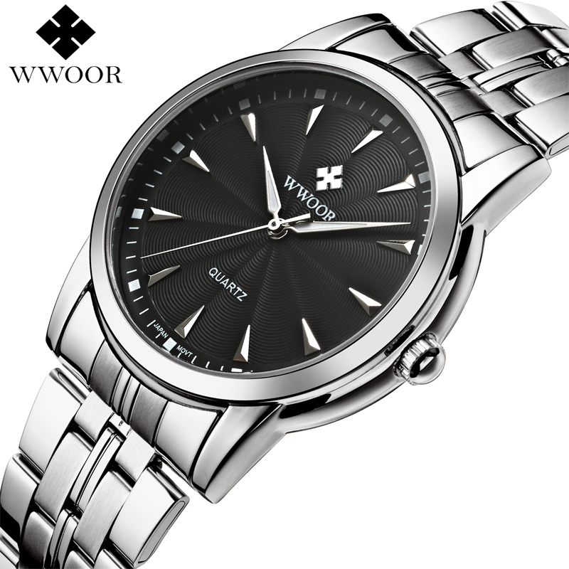 WWOOR Brand Luxury Men Waterproof Business Quartz Watches Men Fashion Casual Stainless Steel Sport Wrist Watch Male Simple Clock curren men s fashion and casual simple quartz sport wrist watch