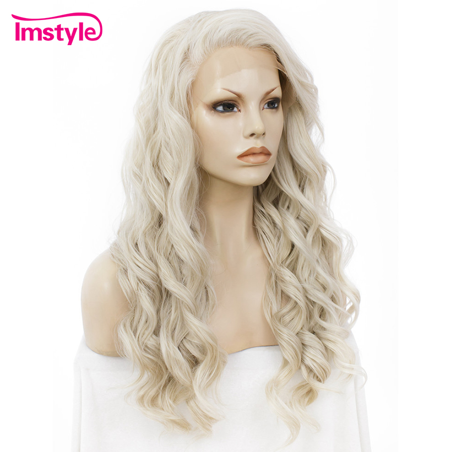 Image 3 - Imstyle Ash Blonde Lace Front Wigs For Women Synthetic Hair Wig Long Wavy  Cosplay Wigs Heat Resistant Fiber Glueless 24 Inches-in Synthetic None-Lace  Wigs from Hair Extensions & Wigs