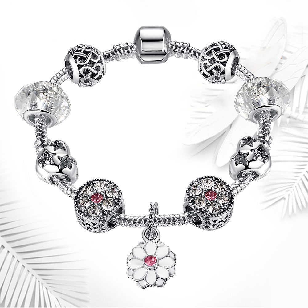 ELESHE модный серебряный браслет с кристаллами подсолнуха для женщин с прозрачными муранскими стеклянными бусинами браслеты и браслеты Ювелирное Украшение ручной работы