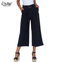 Summer Newest Style Casual Pants Women High Waist Female Loose Pants Black Ladies Wide Leg Pants