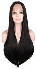 Qqxcaiw длинные прямые ручной работы Glueless кружева спереди парик для черные женские 70 см высоком Температура волокно синтетические волосы черные парики