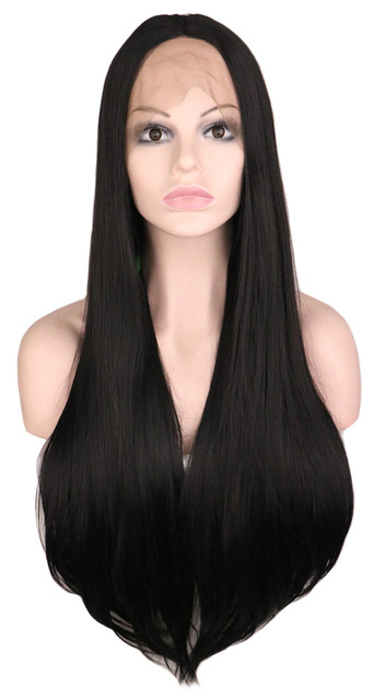 QQXCAIW Long Straight Handmade Glueless Lace Front Wig For Women 70 Cm High Temperature Fiber Synthetic Hair Black Wigs