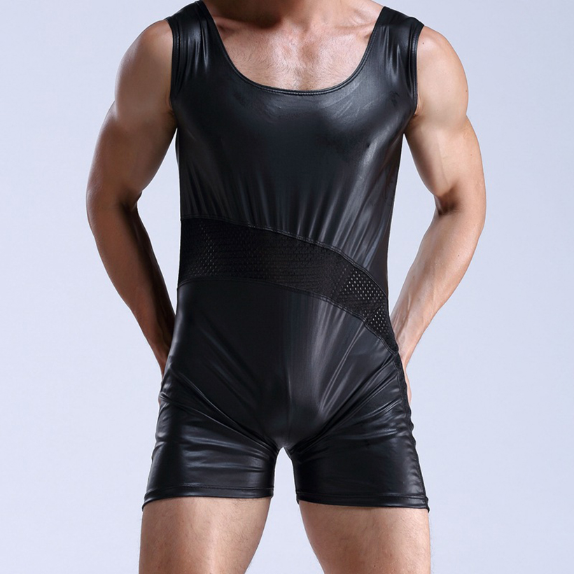 Mens Black Patent Leather leotard Faux Leather Latex Catsuit Sexy Lingerie Bodysuit Breathable Nightclub Sexy Shiny Underwear