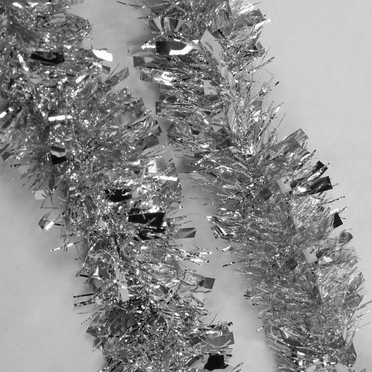 Us 1 33 Tfbc 2m 6 5ft Deluxe Thick Chunky Wide Silver Shiny Christmas Tree Tinsel Garland With Embossing Decoration In Pendant Drop Ornaments