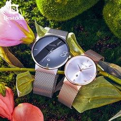 Bestdon vigilanza delle coppie del diamante un paio impermeabile orologi al quarzo semplice 1314 fashion design esclusivo Amanti delle donne Degli Uomini 2019 nuovo