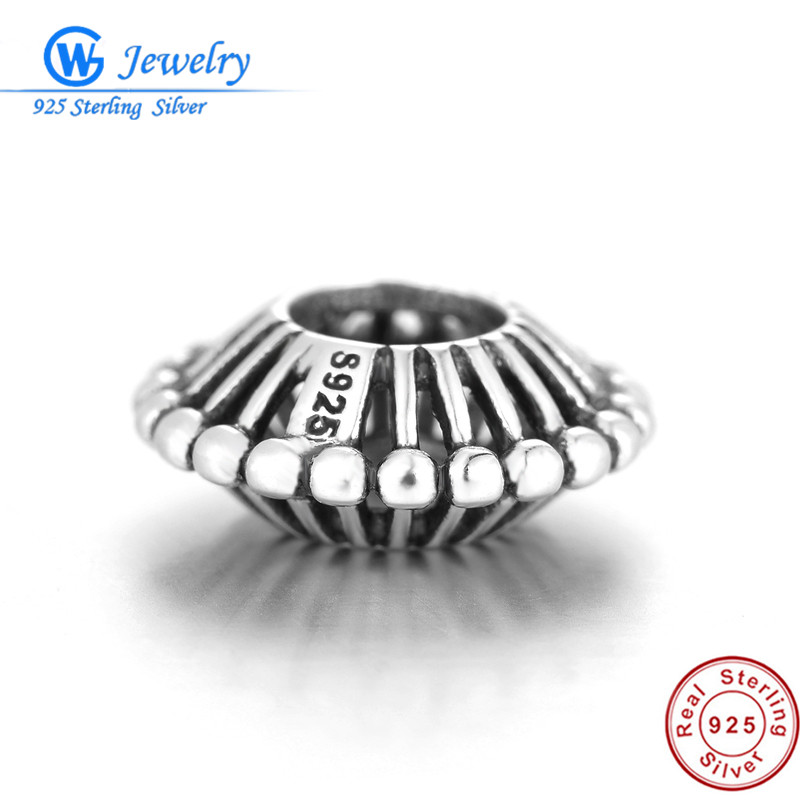925 Sterling Silver Hollow Space Bead Stopper Charms Fit Pandora Charms Silver 925 Original Bracelet DIY Women Jewelry Making