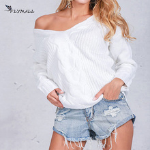 Осень Slash шеи выдалбливают пуловер Свитера хаки белый вязаный свитер женские пикантные Длинные рукава с открытыми плечами свитер джемперы
