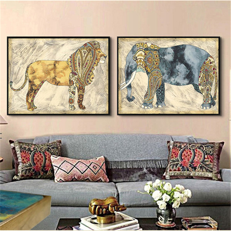 HAOCHU Indian Animals Art Print Poster Elephant Horse Zebra Canvas Painting Wall Pictures No Framed Home Decoration Collection