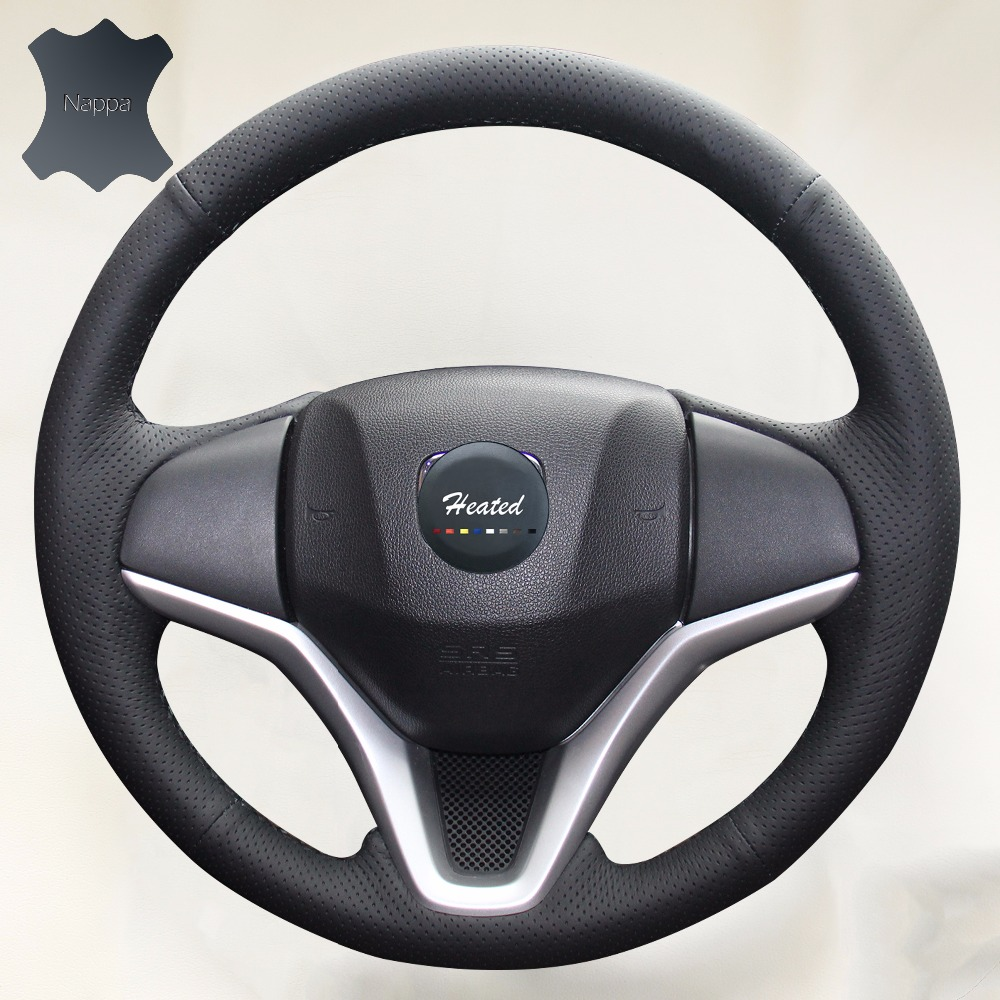 Diy leather auto steering wheel cover for honda new fit city jazz 2014 2015 hrv hr