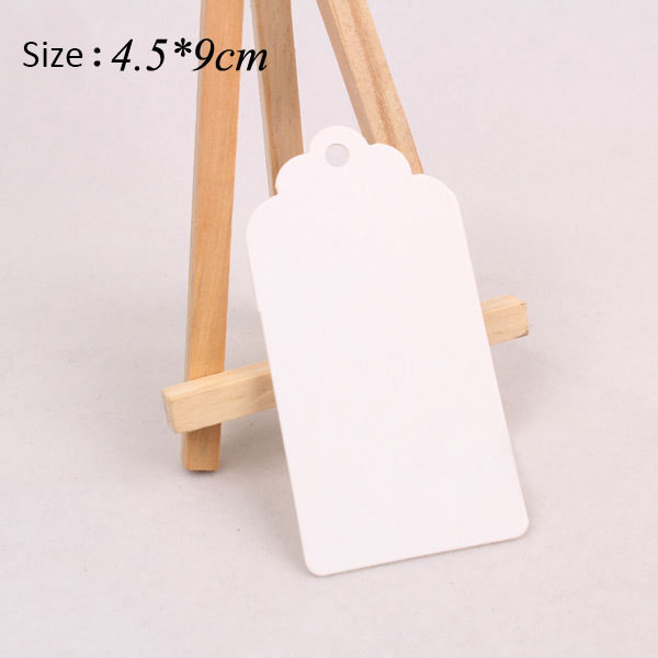 Convinient Excellent Quality 100pcs 4.5x9cm White Paper Gift Tags Wedding Luggage Scallop Label Blank New