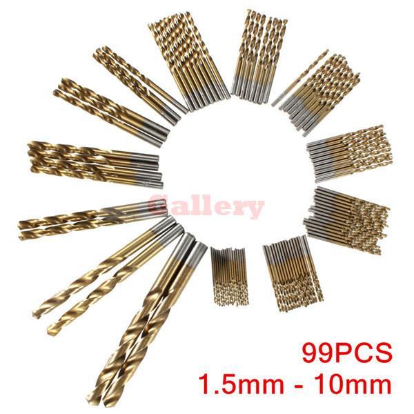 99pcs 1.5mm - 10mm Titanium Coated High Speed Steel Drill Bit Set Manual Twist Drill Bits 99pcs manual twist titanium coated high